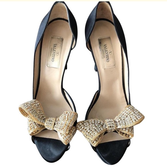 Valentino Shoes - VALENTINO satin crystal couture bow d'orsay pumps